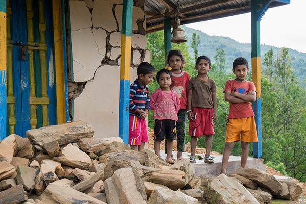 Children after earthquake in Nepal