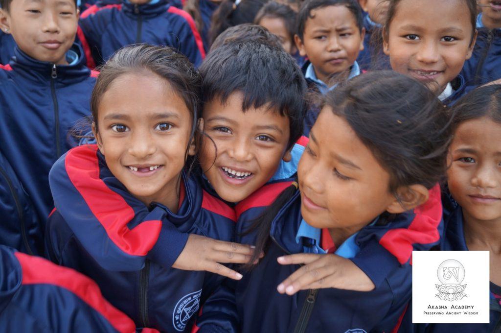 pupils in Suntakhan with their new school uniforms from Akasha Academy NGO